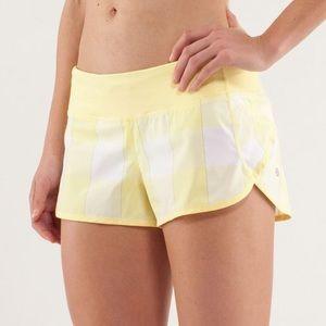Lululemon rare Run Speed Shorts gingham yellow